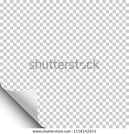 Transparent sheet of paper with curled lower left corner and white background under it. Vector paper template.