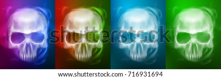 Transparent Skull or Ghost on different colors styles for Halloween Background.vector illustration eps 10