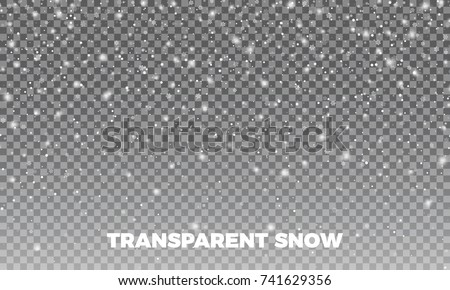Transparent Snow. Vector transparent snow background. Christmas and New Year decoration.