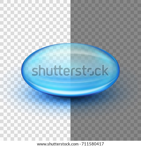 Transparent soft gel capsule object. Blue oil. And also includes EPS 10 vector