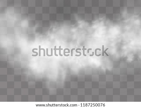 Transparent special effect stands out with fog or smoke. White cloud vector, fog or smog. Vector illustration.