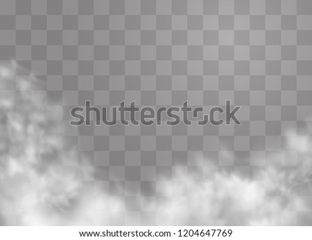 Transparent special effect stands out with fog or smoke. White cloud vector, fog or smog. Vector illustration. White gradient on a transparent background. Rainy weather on a transparent background.