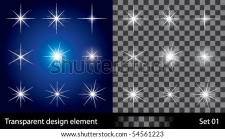 Transparent stars - stock vector