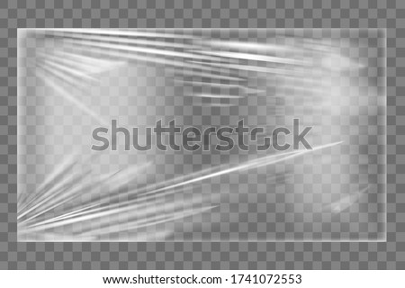Transparent stretch plastic wrap texture. Realistic polyethylene wrapping stretch film background. Vector transparent cellophane package mockup Foto stock ©