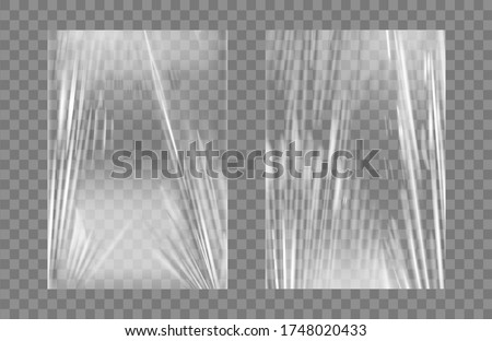 Transparent stretch plastic wrap texture set. Realistic polyethylene wrapping stretch film background. Vector transparent cellophane package mockup.
