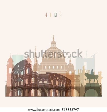 transparent styled rome skyline