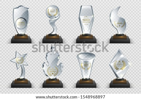 Transparent trophies. Realistic crystal glass awards with text, isolated competition cups stars and prizes. Vector illustration isolated set acrylic trophies modern image