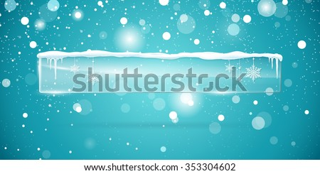 Transparent vector glass  banner with snow and icicles isolated on blue shiny sparkling background. Vector illustration. Eps 10 file