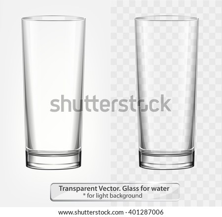 Transparent vector glass for water on light background