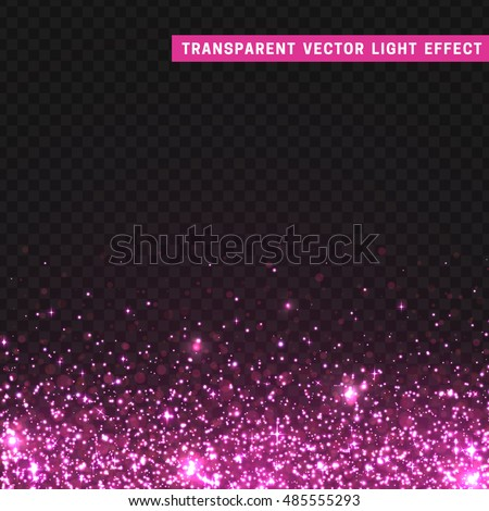 Transparent vector light effect pink. Glitter particles, shining stars , space background. Bright design element, pink luxury greeting card