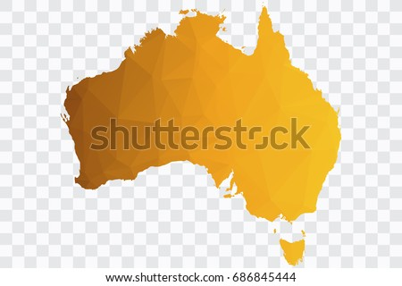 transparent vector polygon gold map of australiavector illustration eps 10