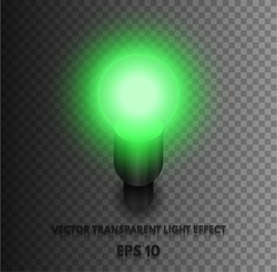 Transparent vector Realistic light bulb green, isolated on plaid background. Bright burning lamp consisting of vector effects. The light source element for your projects.
