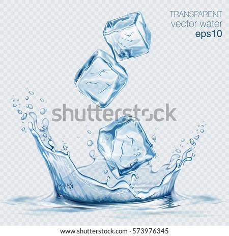 transparent vector water splash