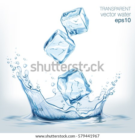 Transparent vector water splash and transparent blue vector ice cubes on light background