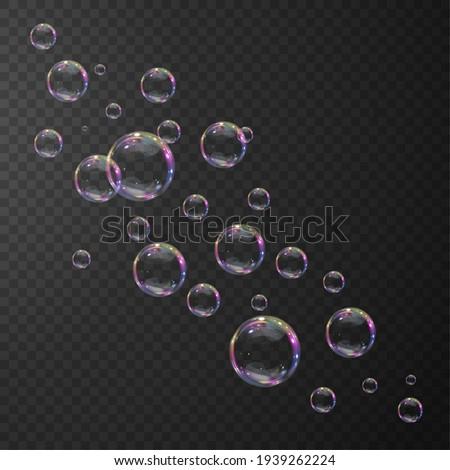 Transparent water realistic glass bubbles. Bubbles PNG. Vector PNG.