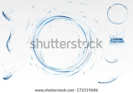 Transparent water wave with bubbles. Vector 3d illustration in light blue colours. Purity and freshness concept. Website abstract water background banner or header set.