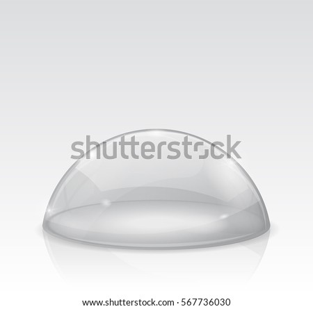 Transparent white dome, glass semi-sphere. Vector 3d illustration isolated on white background