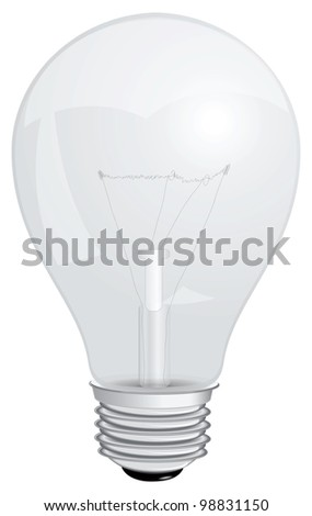 Transparent with a filament lamp. Vector illustration.