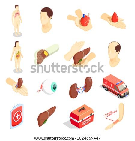 Transplantation decorative icons set with human  organs emergency car case for transportation donor organs isometric vector illustration