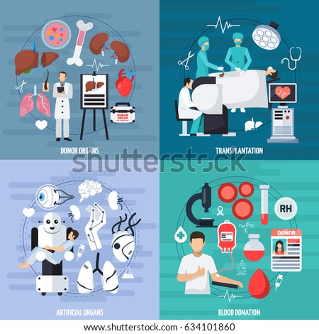 Transplantation 2x2 design concept set of donor and artificial organs blood donation and transplant operation compositions flat vector illustration