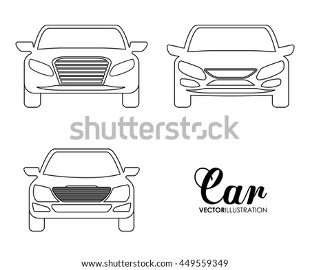 Transporation design represented by set of cars silhouette over white background. Isolated and Flat illustration.