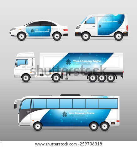 Transport advertisement design blue template decorative icons set isolated vector illustration