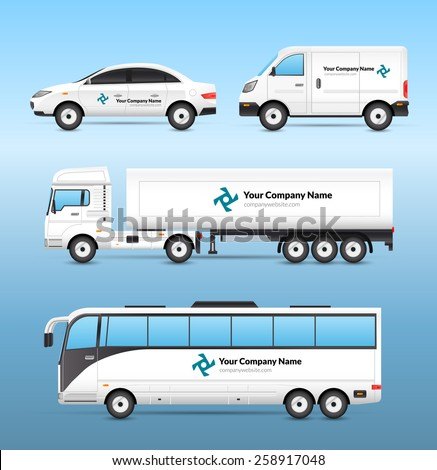 Transport advertisement set with car van truck and tourist bus with advertising signs isolated vector illustration
