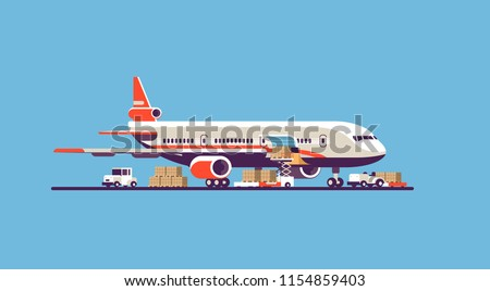 transport airplane aircraft express delivery preparing flight airport air cargo international transportation concept forklift loading parcel boxes blue background flat horizontal vector illustration