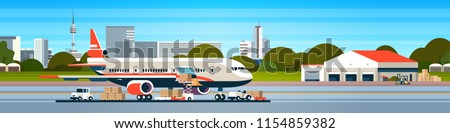 transport airplane express delivery preparing flight aircraft airport air cargo international transportation concept forklift loading parcel boxes flat horizontal banner vector illustration