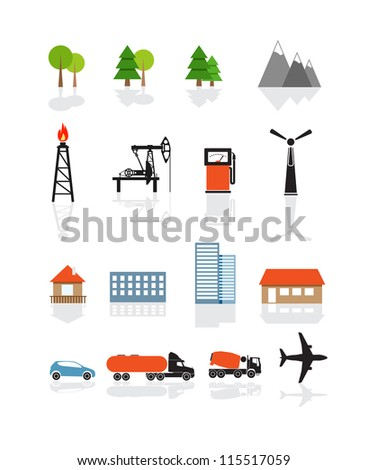 Transport and ecology icons collection isolated on white