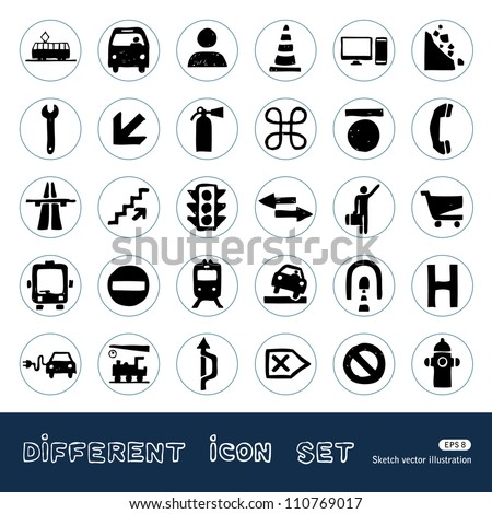 Transport and road signs urban web icons set. Hand drawn sketch illustration isolated on white background