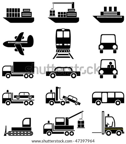 Transport and special vehicles - a set of black & white vector icons, pictograms.