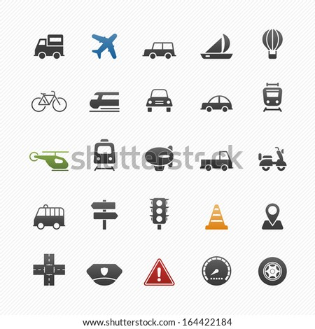 transport and traffic vector symbol icon set on white background