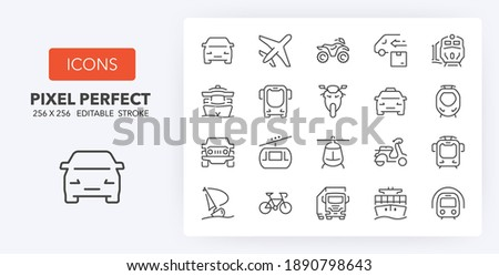 Transport and vehicles thin line icon set. Outline symbol collection. Editable vector stroke. 256x256 Pixel Perfect scalable to 128px, 64px... Foto d'archivio ©