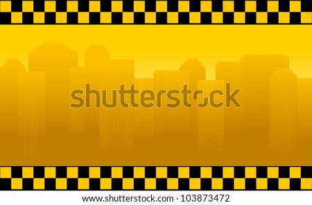 transport background with taxi sign and office building silhouette