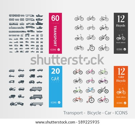 Transport -  Bicycle - Car - ICONS