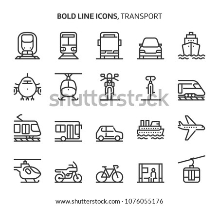 Transport, bold line icons. The illustrations are a vector, editable stroke, 48x48 pixel perfect files. Crafted with precision and eye for quality.