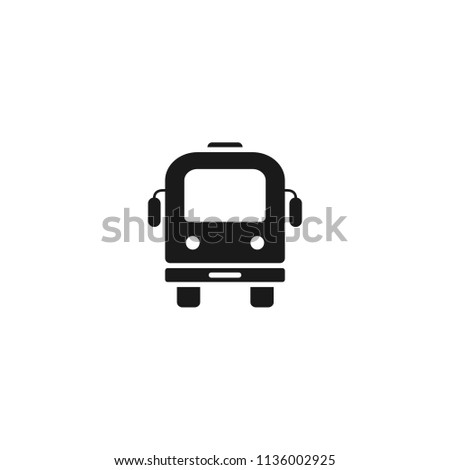Transport bus vector icon. Bus front view icon. Vehicle icon. Vector flat sign.
