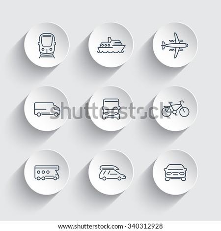 Transport, car, van, minivan, bus, train, airplane line icons on 3d shapes, vector illustration