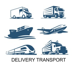 Transport cargo delivery icon. Airplane ship with container truck and lorry emblems