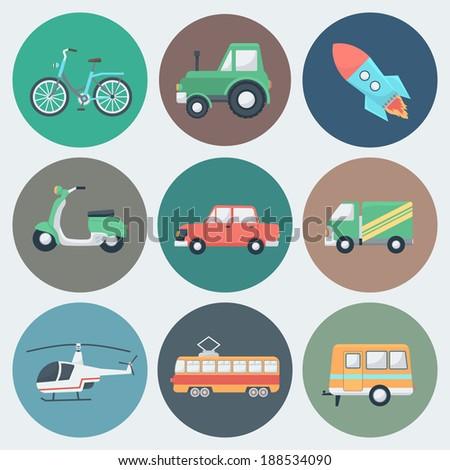 transport circle icons set in