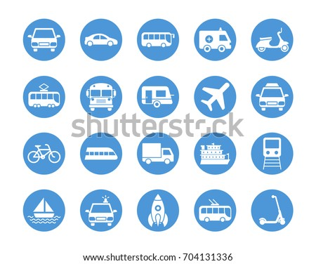 Transport circular icons set #704131336
