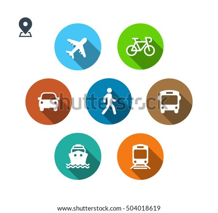 Transport color icons. Walk man, Bike, Airplane, Public bus, Train, Ship/Ferry and auto signs. Shipping delivery symbol. Air mail delivery sign. Flat shadow. Vector