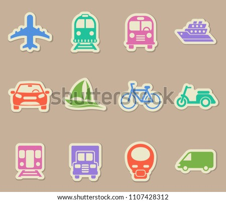 transport color vector icons on paper stickers