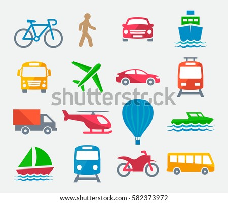 Transport colorful icons