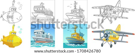 Transport coloring pages. Cartoon clipart set for kids activity colouring book, t shirt print, icon, logo, label, patch or sticker. Vector illustration.