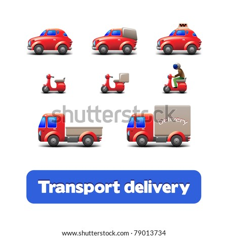 Transport Delivery Web Icon Set: scooter, truck, car, motorcycle