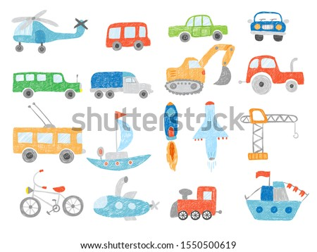 Transport doodles. Kids drawing technics tractor cars plane and ship vector pictures isolated