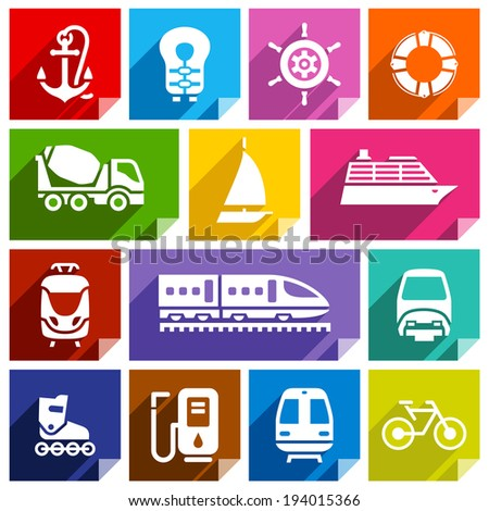 Transport flat icons with shadow stickers square shapes bright colors Set 01