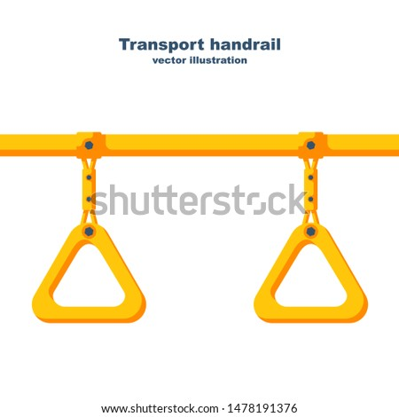 Transport handrail. Hanging handle. Ceiling bracket on the yellow pipe. Handles for passengers. Grip metro or bus. Vector illustration flat design. Isolated on white background.